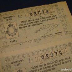 Lotería Nacional: 2 DÉCIMOS DEL 15 DE FEBRERO DE 1907. ADMINISTRACIÓN DE HORTALEZA MADRID. Lote 120229199