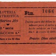 Lotería Nacional: RARISIMO DECIMO DE LOTERIA PATRIOTICA - CADIZ 6 DE ENERO DE 1938 - SORTEO 209. Lote 122098911