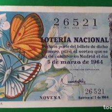 Lotería Nacional: LOTERIA NACIONAL, AÑO 1964 SORTEO 7. Lote 122239559