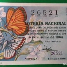 Lotería Nacional: LOTERIA NACIONAL, AÑO 1964 SORTEO 7. Lote 122239579