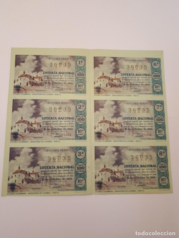 LOTERÍA NACIONAL, 15 OCTUBRE 1965, 6 DÉCIMOS (Coleccionismo - Lotería Nacional)