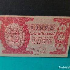 Lotería Nacional: LOTERÍA NACIONAL DEL AÑO 1957 SORTEO 2. Lote 125151431