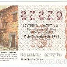 Lotería Nacional: DÉCIMO LOTERÍA. SORTEO Nº 68 DE 1991. MOMBUEY. ZAMORA. REF. 9-9168. Lote 125447215