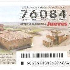 Lotería Nacional: LOTERÍA JUEVES, SORTEO Nº 65 DE 2016. CONVENTO DE SAN VITORES. BURGOS. REF. 10-16-65. Lote 125650075
