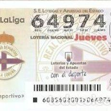 Lotería Nacional: LOTERÍA DEL JUEVES, SORTEO Nº 85 DE 2016. FÚTBOL. ESCUDO R.C. DEPORTIVO LA CORUÑA. REF. 10-16-85. Lote 125657295