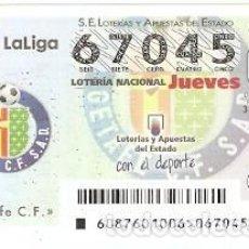 Lotería Nacional: LOTERÍA DEL JUEVES, SORTEO Nº 87 DE 2016. FÚTBOL. ESCUDO GETAFE C.F. REF. 10-16-87. Lote 125657995