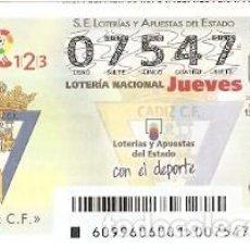 Lotería Nacional: LOTERÍA JUEVES, SORTEO Nº 99 DE 2016. FÚTBOL. ESCUDO CÁDIZ C.F. REF. 10-16-99. Lote 125662211