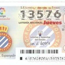 Lotería Nacional: LOTERÍA DEL JUEVES, SORTEO Nº 101 DE 2016. FÚTBOL. ESCUDO R.C.D. ESPANYOL, REF. 10-16-101. Lote 125662899