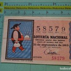 Lotería Nacional: CUPÓN DÉCIMO DE LA LOTERÍA NACIONAL. SORTEO 25 SEPTIEMBRE 1969. REFRANES DICHOS POPULARES. Lote 125863391