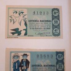 Lotería Nacional: SÉIS DÉCIMOS LOTERÍA NACIONAL, AÑO 1966,. Lote 125905071