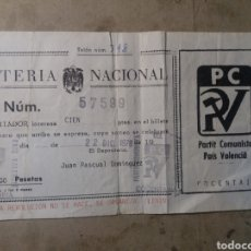 Lotería Nacional: COCENTAINA ALICANTE PARTIT COMUNISTA 1978. Lote 126355632