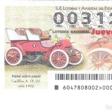 Lotería Nacional: 1 DECIMO LOTERIA DEL JUEVES - 14 JUNIO 2018 - 47/18 COCHES VEHICULOS ANTIGUOS CADILLAC AMERICANO. Lote 129999310