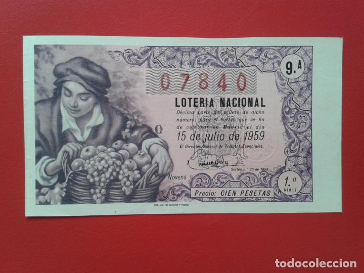 DECIMO DE LOTERIA NACIONAL AÑO 1959 SORTEO Nº 20 (Coleccionismo - Lotería Nacional)