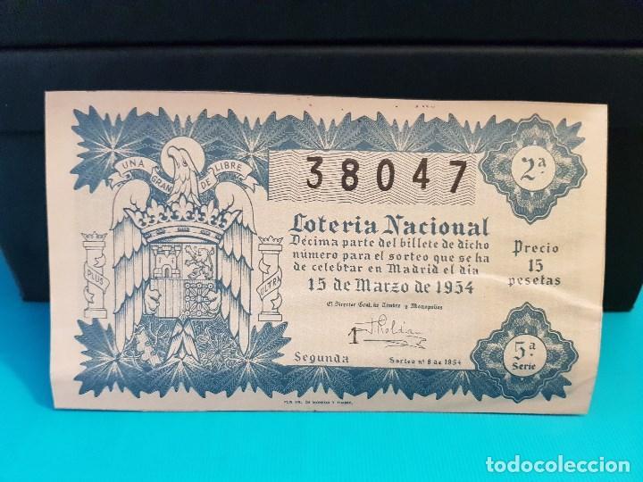 LOTERÍA NACIONAL DEL AÑO 1954 SORTEO 8 (Coleccionismo - Lotería Nacional)