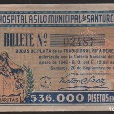 Lotería Nacional: SANTURCE, 20-SEPTIEMBRE 1947, RIFA BENEFICA- BODAS DE PLATA, VER FOTO. Lote 126707675