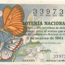 Lotería Nacional: DECIMO LOTERIA NACIONAL - SORTEO Nº 7 DE 1964. Lote 127960219