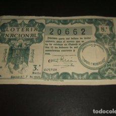 Lotería Nacional: DECIMO LOTERIA NACIONAL 12 DE FEBRERO 1943 SORTEO Nº 5. Lote 128583219