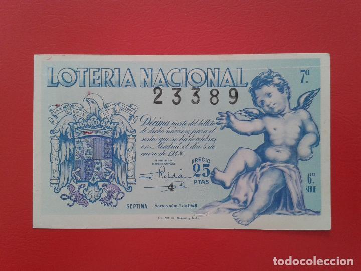 DECIMO DE LOTERIA NACIONAL AÑO 1948 , SORTEO Nº 1 (Coleccionismo - Lotería Nacional)