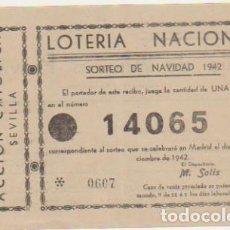 Lotería Nacional: LOTERÍA NACIONAL. PARTICIPACIÓN PARA NAVIDAD DE 1942.. Lote 128636207