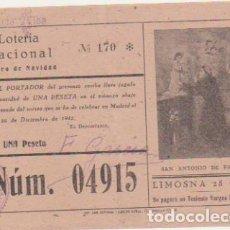 Lotería Nacional: LOTERÍA NACIONAL. PARTICIPACIÓN PARA NAVIDAD DE 1942.. Lote 128636219