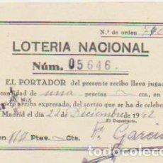 Lotería Nacional: LOTERÍA NACIONAL. PARTICIPACIÓN PARA NAVIDAD DE 1942.. Lote 128636231