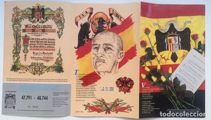 TRÍPTICO LOTERÍA 1994 FRANCISCO FRANCO Y JOSÉ ANTONIO PRIMO DE RIVERA - FALANGE ESPAÑOLA JONS (Coleccionismo - Lotería Nacional)