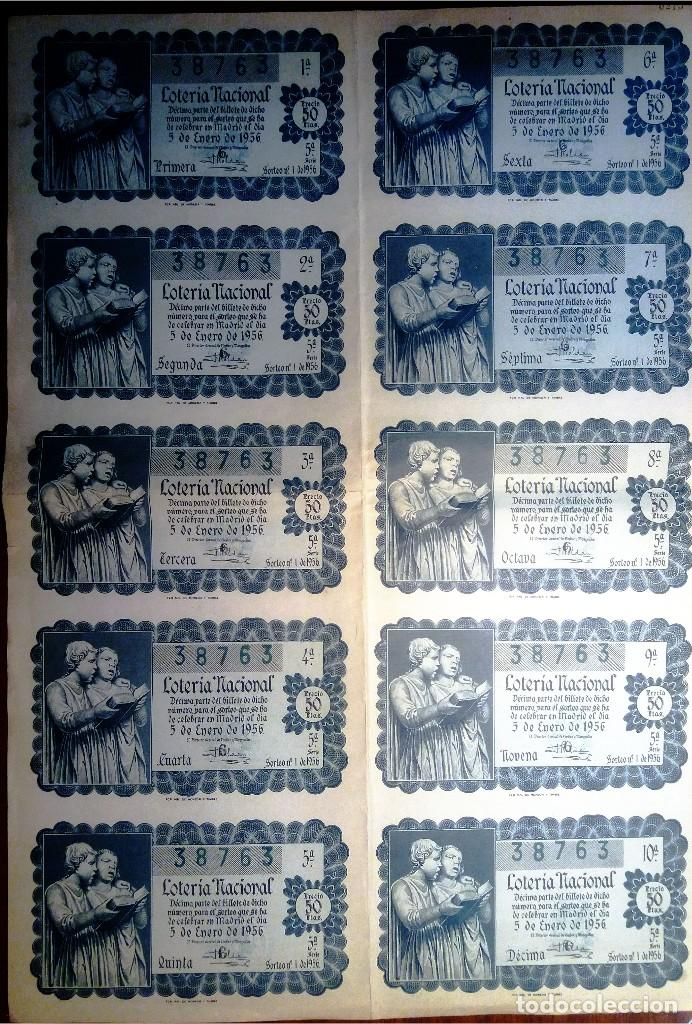 LOTERIA NACIONAL.1956.BILLETE SEMI ENTERO DEL SORTEO Nº 1.CON 9 DÉCIMOS.EXCELENTE ESTADO, EBC (Coleccionismo - Lotería Nacional)