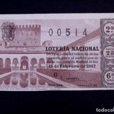 Lotería Nacional: LOTERIA NACIONAL 1962. DÉCIMO SORTEO Nº 5. Lote 130425462
