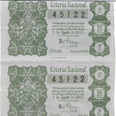 Lotería Nacional: 3 DECIMOS LOTERIA NACIONAL SORTEO NAVIDAD 1955 SORTEO Nº 22. Lote 130569330