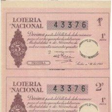 Lotería Nacional: 2 DECIMOS LOTERIA NACIONAL SORTEO Nº 32 DE 1944. Lote 130595502