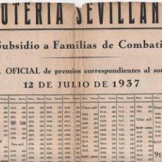 Lotería Nacional: SEVILLA,LISTA OFICIAL LOTERIA PATRIOTICA, SORTEO. 12 JULIO 1937, MIDE: 35 X 23 C.M. VER. Lote 130636474