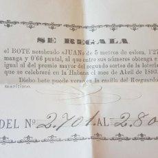 Lotería Nacional: ANTIGUA LOTERIA PRIVADA DE LA CUBA ESPAÑOLA 1893. Lote 130857317