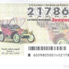 Lotería Nacional: 1 DECIMO LOTERIA NACIONAL JUEVES 26 JULIO 2018 - 59/18 COCHES VEHICULOS ANTIGUOS - BUICK C ( EE.UU ). Lote 139241248