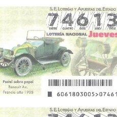 Lotería Nacional: 1 DECIMO LOTERIA NACIONAL JUEVES - 2 AGOSTO 2018 - 61/18 COCHES VEHICULOS ANTIGUOS - RENAULT AX.. Lote 146714476