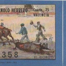 Lotería Nacional: BILLETE LOTERIA NACIONAL 1960 PEÑA TAURINA MANOLO HERRERO CUARTE 75 VALENCIA REPARACION MOTOS -C-3. Lote 131533722