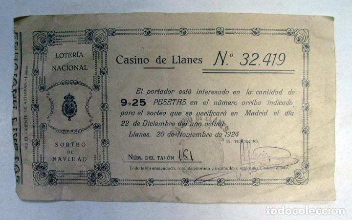 DECIMO LOTERIA NACIONAL. SORTEO NAVIDAD. 1924. CASINO DE LLANES. 9,25 PESETAS. ASTURIAS (Coleccionismo - Lotería Nacional)