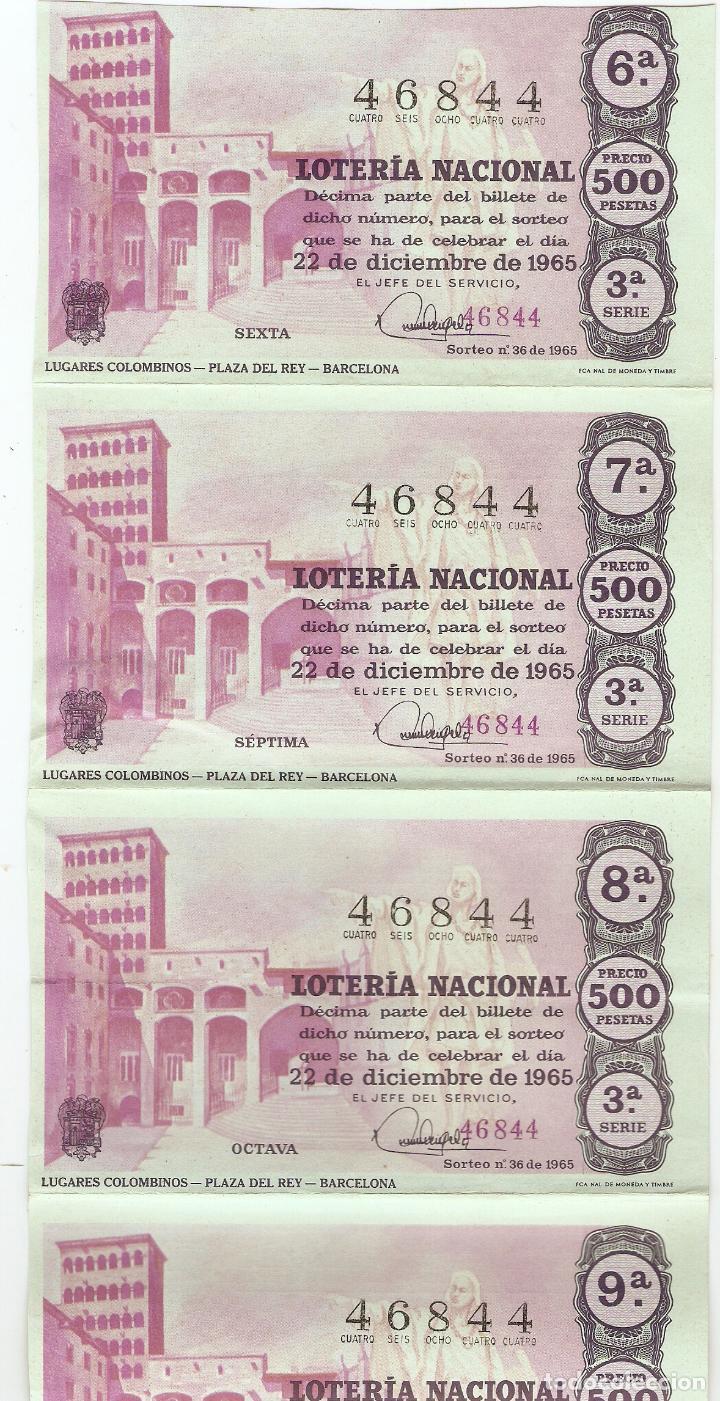 5 DÉCIMOS DE LOTERÍA NACIONAL - 46844 - SERIE 3ª - FRACCIÓN 6ª A 10ª - 22 DICIEMBRE 1965 (Coleccionismo - Lotería Nacional)