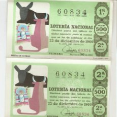 Lotería Nacional: 5 DÉCIMOS DE LOTERÍA NACIONAL - 60834 - SERIE 2ª - FRACCIÓN 1ª A 5ª - 22 DICIEMBRE 1966. Lote 131637254