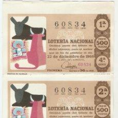 Lotería Nacional: 5 DÉCIMOS DE LOTERÍA NACIONAL - 60834 - SERIE 4ª - FRACCIÓN 1ª A 5ª - 22 DICIEMBRE 1966. Lote 131638110