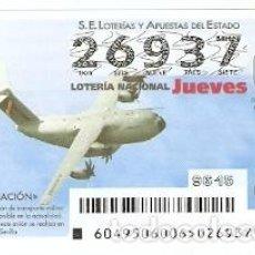 Lotería Nacional: LOTERÍA JUEVES, SORTEO Nº 49 DE 2015. AVIACIÓN. A400M. REF. 10-15-49. Lote 132338934