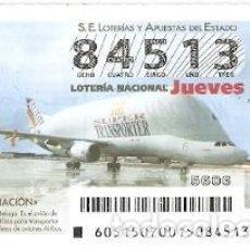 Lotería Nacional: LOTERÍA JUEVES, SORTEO Nº 51 DE 2015. AVIACIÓN. A300-600ST. BELUGA. REF. 10-15-51. Lote 132339018