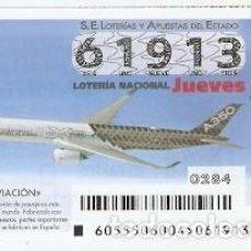 Lotería Nacional: LOTERÍA JUEVES, SORTEO Nº 55 DE 2015. AVIACIÓN. A350. REF. 10-15-55. Lote 132339218