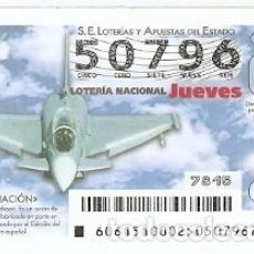 Lotería Nacional: LOTERÍA JUEVES, SORTEO Nº 61 DE 2015. AVIACIÓN. EUROFIGHTER TYPHOON. REF- 10-15-61. Lote 132339594