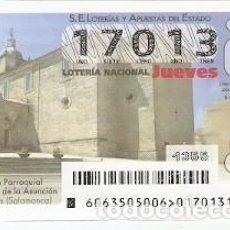 Lotería Nacional: LOTERÍA JUEVES, SORTEO Nº 63 DE 2015. IGLESIA NTRA. SRA. DE LA ASUNCIÓN. LUBRALES. REF. 10-15-63. Lote 132428778