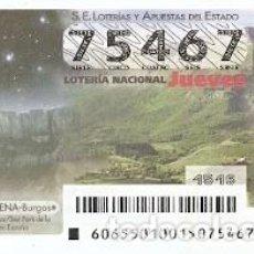 Lotería Nacional: LOTERÍA JUEVES, SORTEO Nº 65 DE 2015. VALLE DE MENA. BURGOS. PARQUE ESTELAR. REF. 10-15-65. Lote 132428878