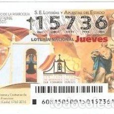 Lotería Nacional: LOTERÍA JUEVES, SORTEO Nº 81 DE 2015. ANIV. PARROQUIA VATICANA. REF. 10-15-81. Lote 132429750
