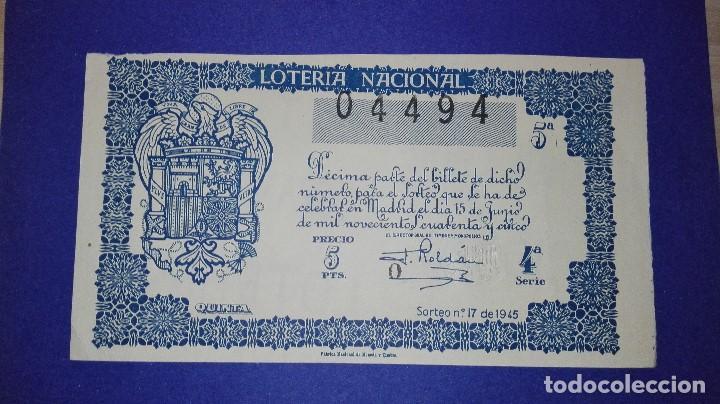 DECIMO DE 1945 SORTEO 17 (Coleccionismo - Lotería Nacional)
