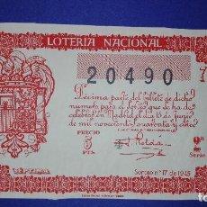Lotería Nacional: DECIMO DE 1945 SORTEO 17. Lote 132698294