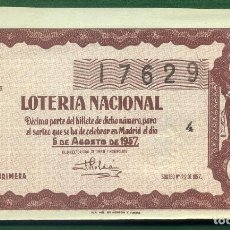 Lotería Nacional: DÉCIMO LOTERÍA NACIONAL 1957 SORTEO 22. Lote 132790542