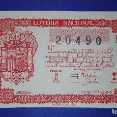 Lotería Nacional: DECIMO DE 1945 SORTEO 17. Lote 133138594